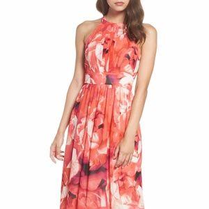 Eliza J Flower Peach/pink Print Chiffon Maxi Dress